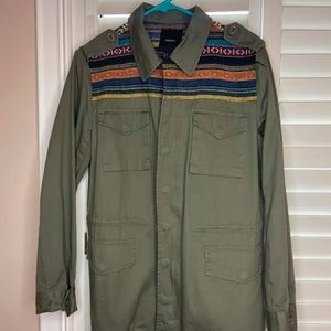 Forever 21 Tribal Patterned Army Cargo Coat